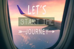 lets start the journey airplain window