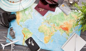 travel map passport hat