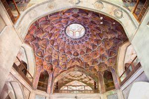 beautiful decorated dome of hasht behesht palace esfahan iran