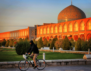 bike ride by the square isfahan