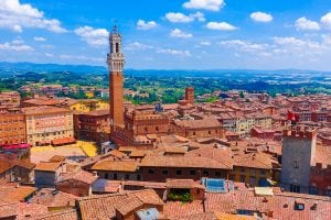 ariel view of siena italy