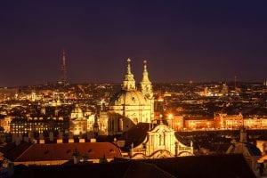 night view st.nicholas church prague